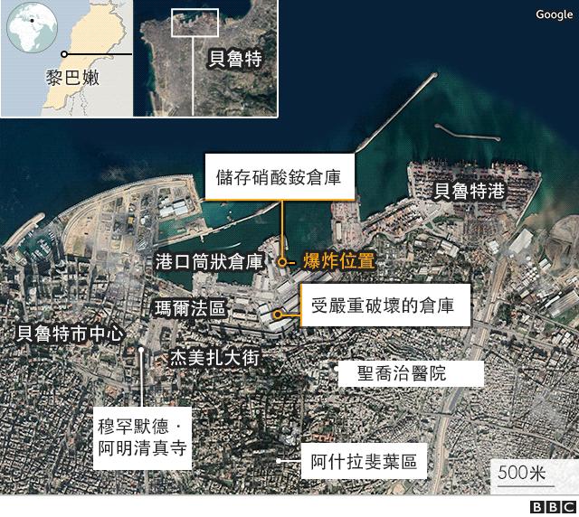 貝魯特爆炸:環境布局地圖
