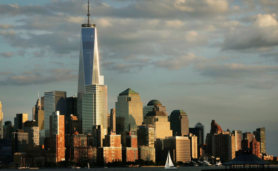 World Trade Center (One WTC, 1 World Trade Centre) towers above the lower Manhattan skyline in New York - September 2014