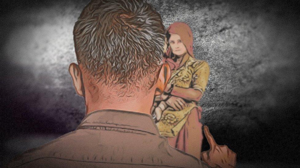 Ilustración de un hombre señalando amenazante a una mujer