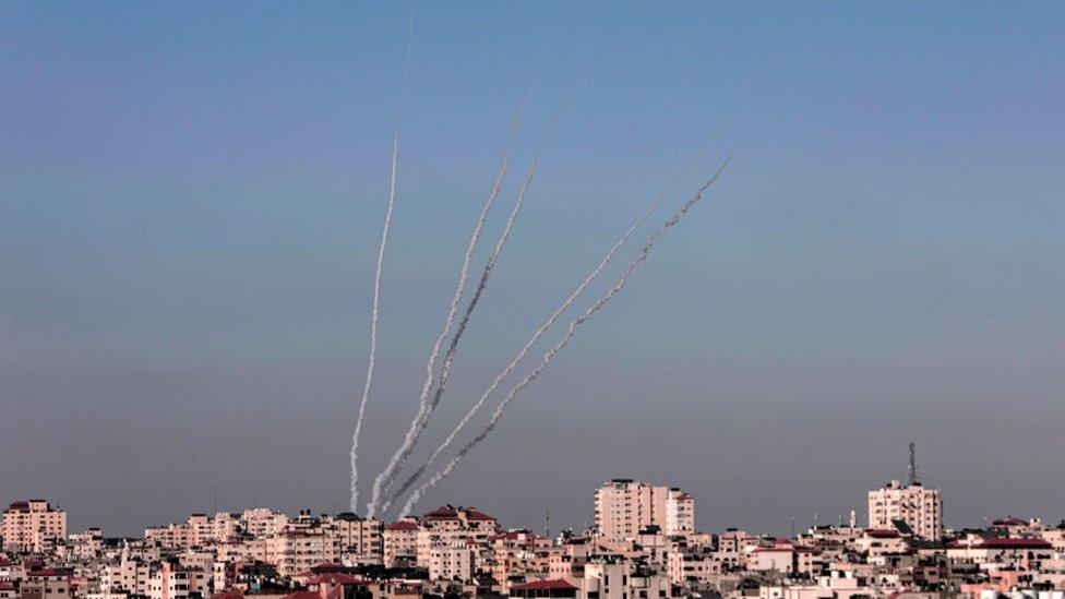 Cohetes disparados desde la Franja de Gaza hacia Israel, 13 mayo 2021