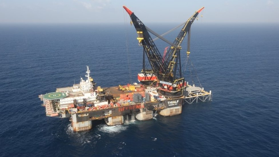 An aerial view shows the newly arrived foundation platform of Leviathan natural gas field, in the Mediterranean Sea, off the coast of Haifa, Israel (31 January 2019)