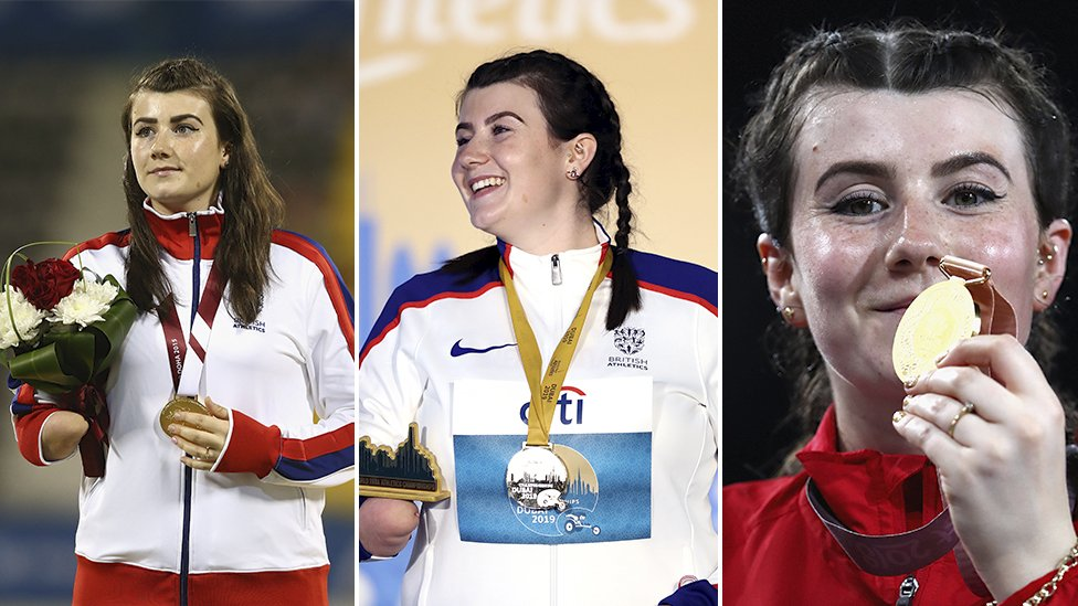 Three pictures of Hollie Arnold with gold medals