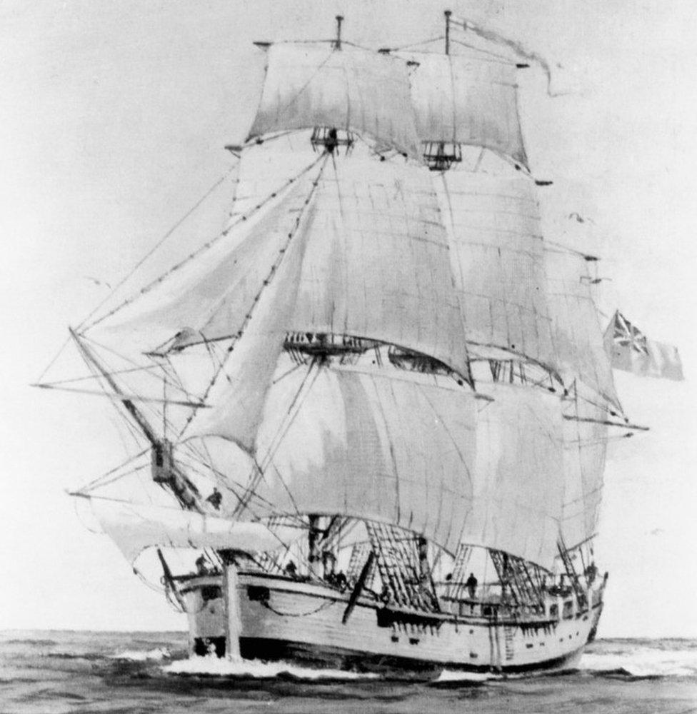 奮進號,庫克船長乘該船於1768- 1771年展開他的發現之旅。