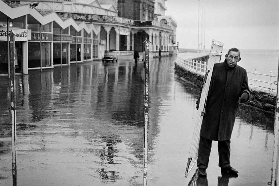 Man walking near the sea