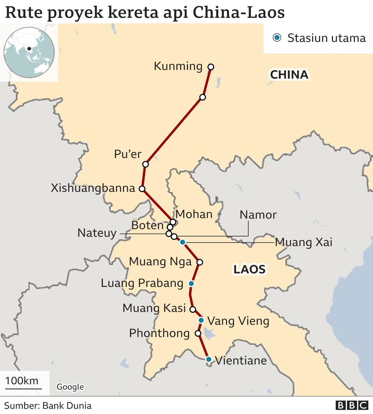 Peta rute kereta api cepat China-Laos