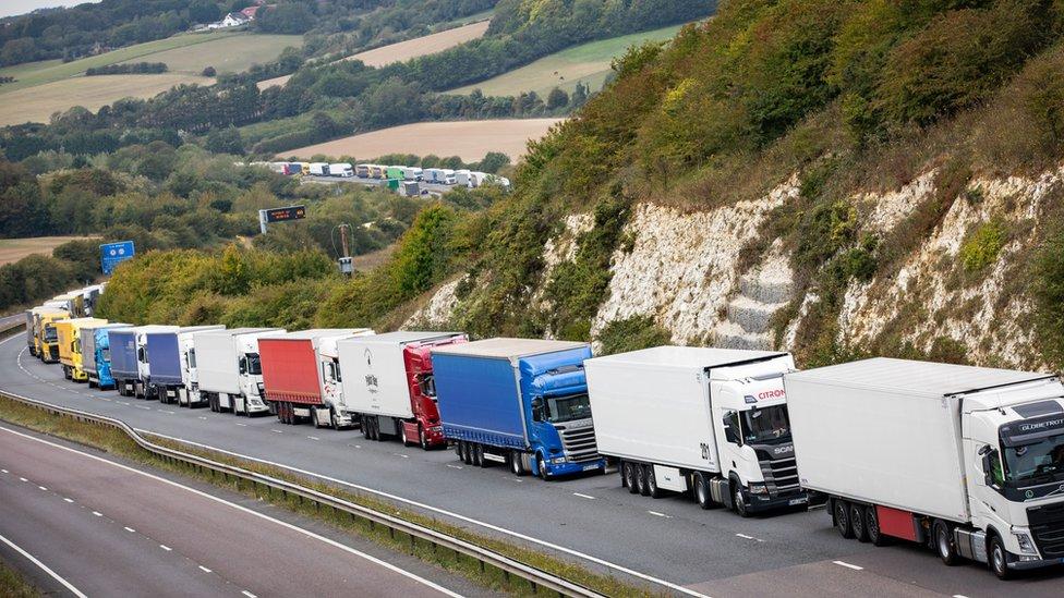 Lorries on the M20
