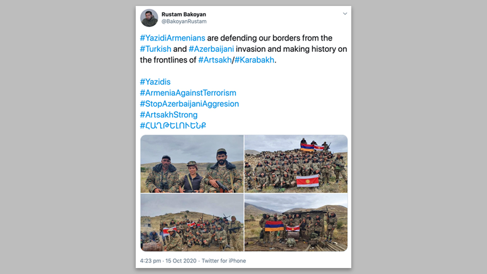 A tweet by an Armenian member of parliament highlighting the involvement of Armenian-Yazidis in the conflict