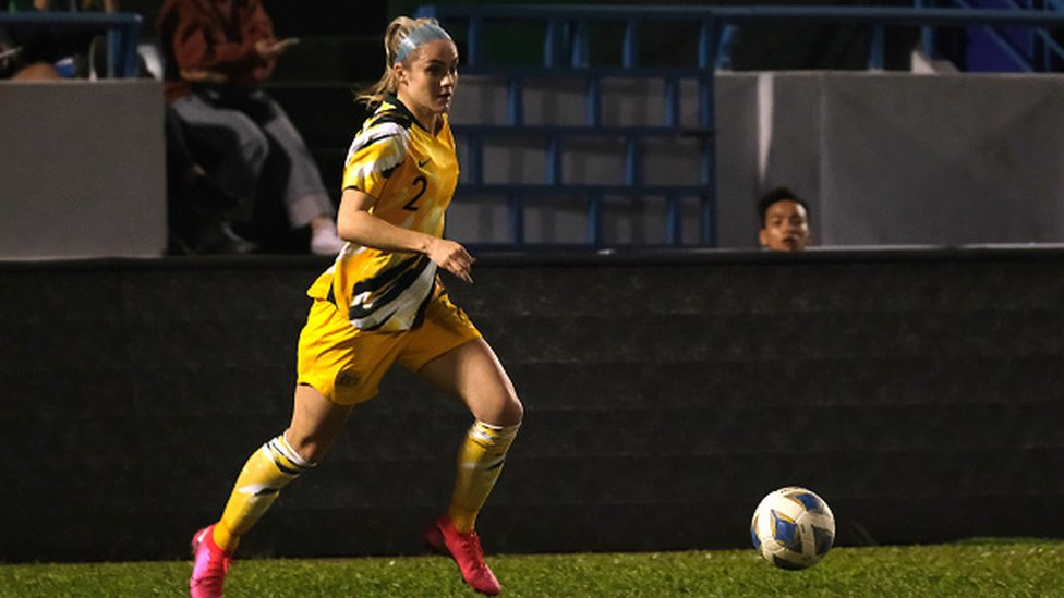 Gema Simon of Australia in action during the Women's Olympic Football Tournament Play-Off 2nd Leg between Vietnam and Australian Matildas at Cam Pha Stadium on March 11, 2020 in Cam Pha, Vietnam