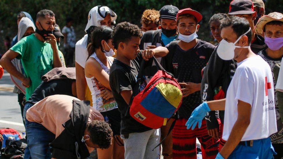 Emigrantes venezolanos en Colombia.