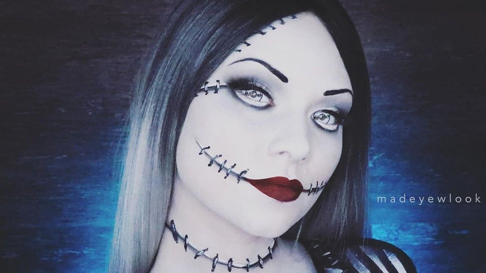 YouTuber Madeyewlook paints herself as the female Jack Skellington for a video