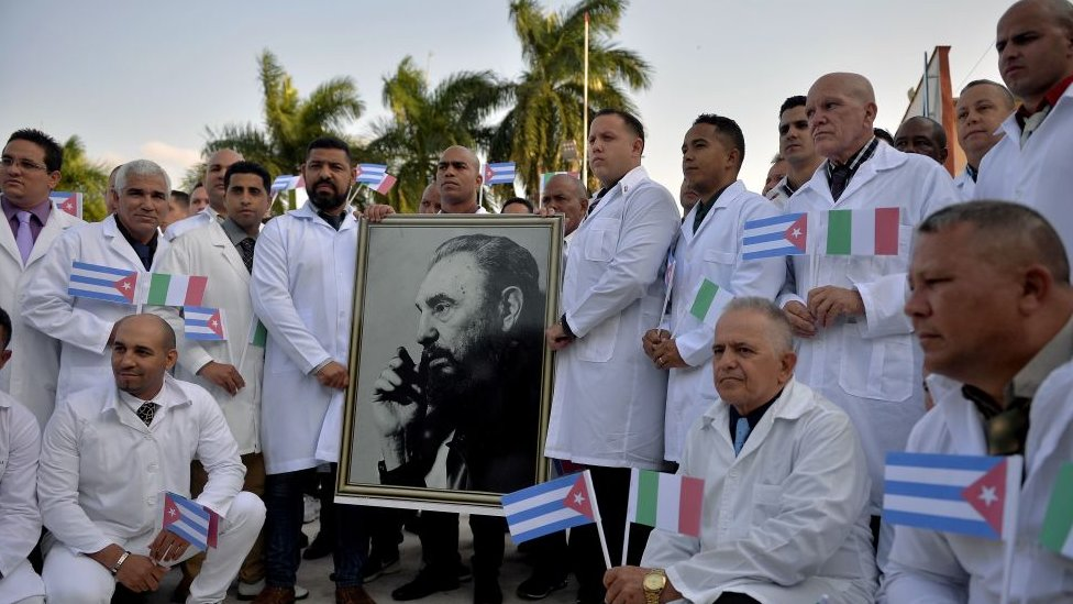 Cuban doctors before leaving for Italy in 2020