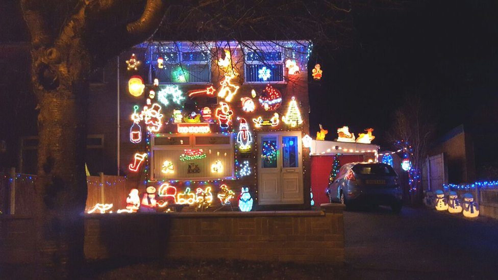 House with Christmas decorations in Mold, Flintshire