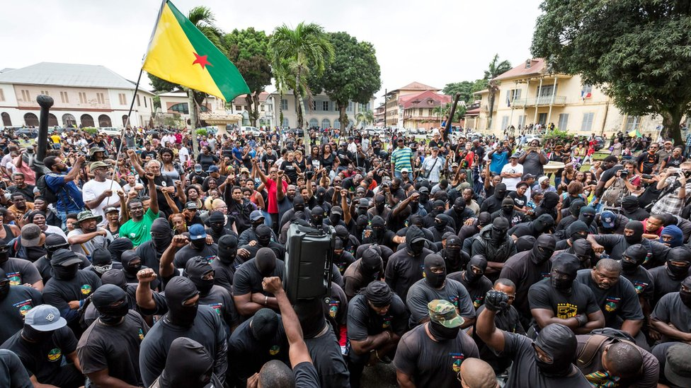 Members of the 500 Brothers group at a protest in Cayenne, French Guyana, last week