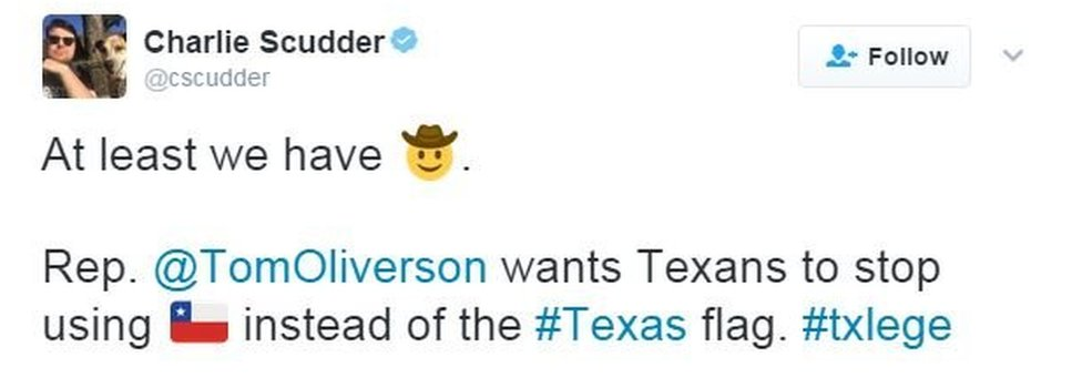 Tweet from Texas saying that Texans can use the cowboy emoji