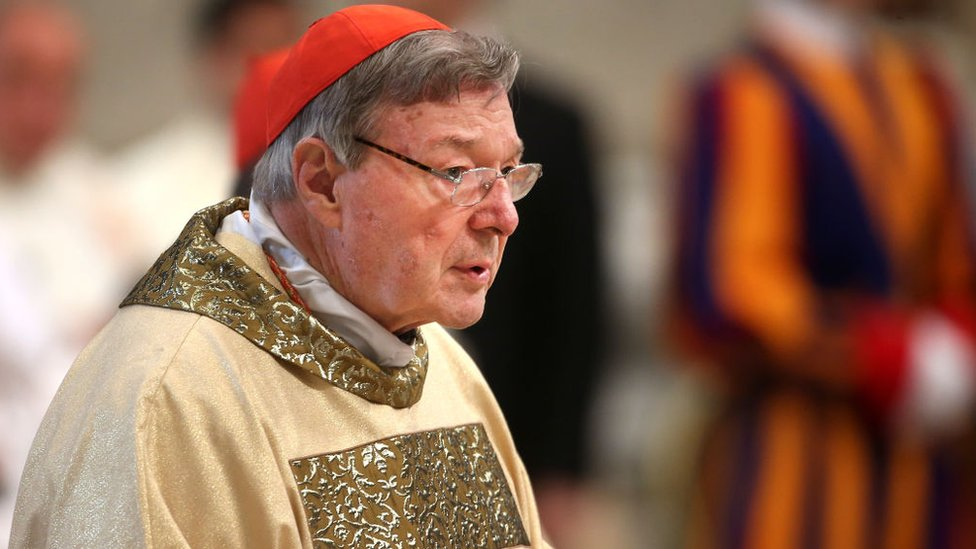 Cardinal Pell attending a mass given by Pope Francis at St. Peter's Basilica at the Vatican in April 2017