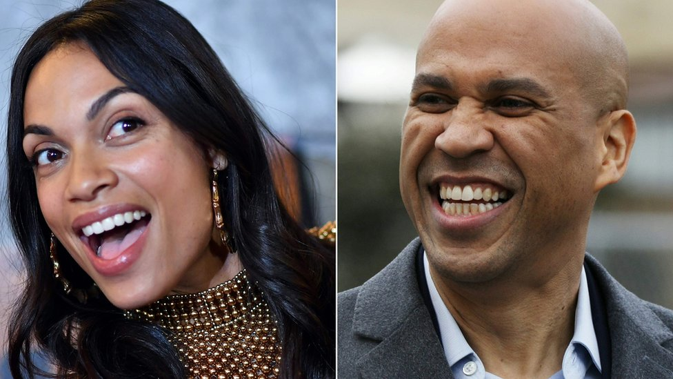 Cory Booker, a New Jersey senator and a Democratic presidential candidate, and actress Rosario Dawson - two portraits