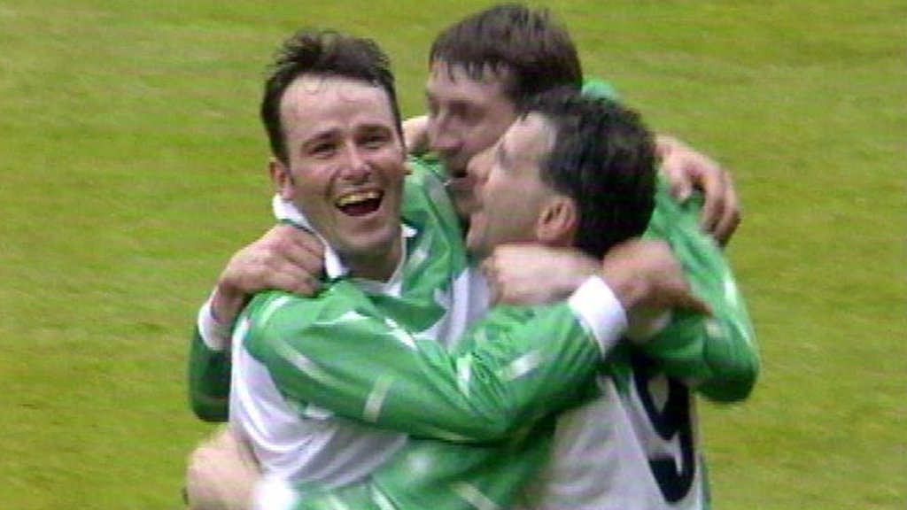 Llansantffraid players celebrate beating Barry Town on penalties in the 1996 Welsh Cup Final