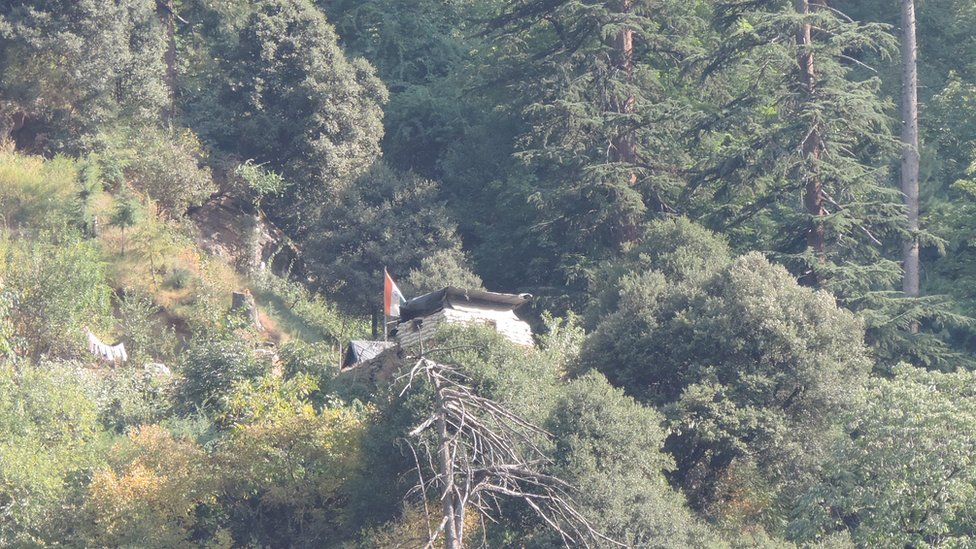 Indian post 2 in Keran-Lawat Shot again from the road on Pakistani side: it's barricaded on all sides with sandbags