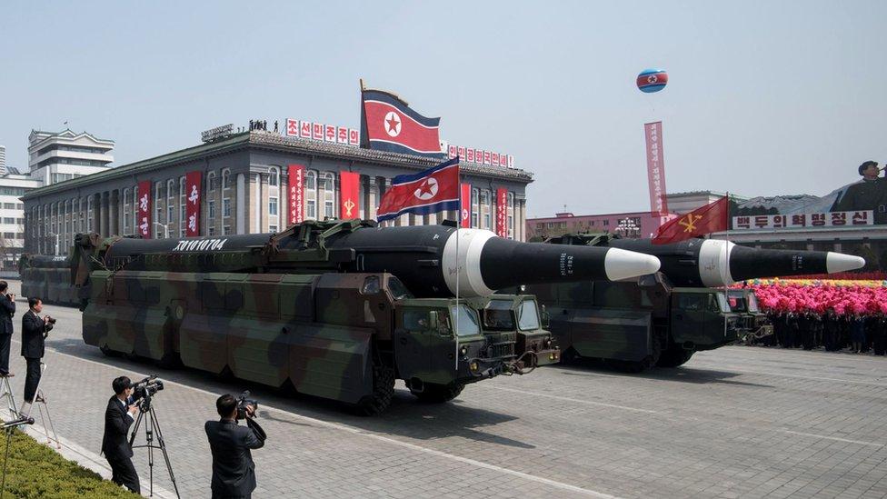 Hwasong missile at North Korean military parade