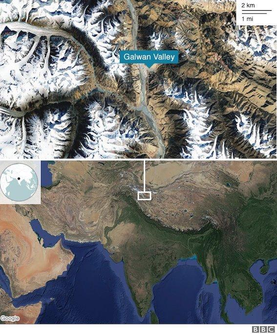 خارطة توضح موقع وادي غالوان في آسيا