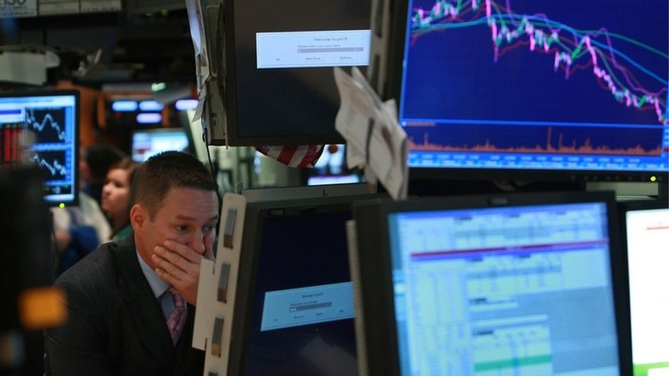 New York stock exchange trader during the financial crisis in 2008