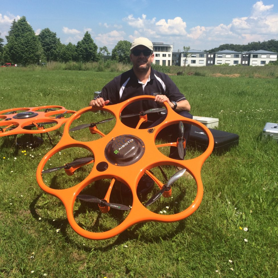 Sion Owen Roberts with a drone in Germany