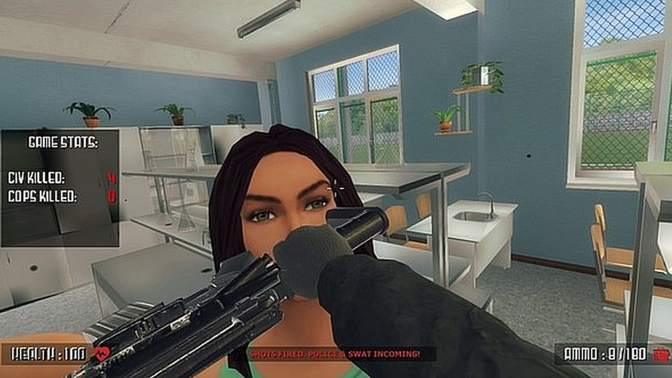 A cartoon woman is hit with a gun in a video game