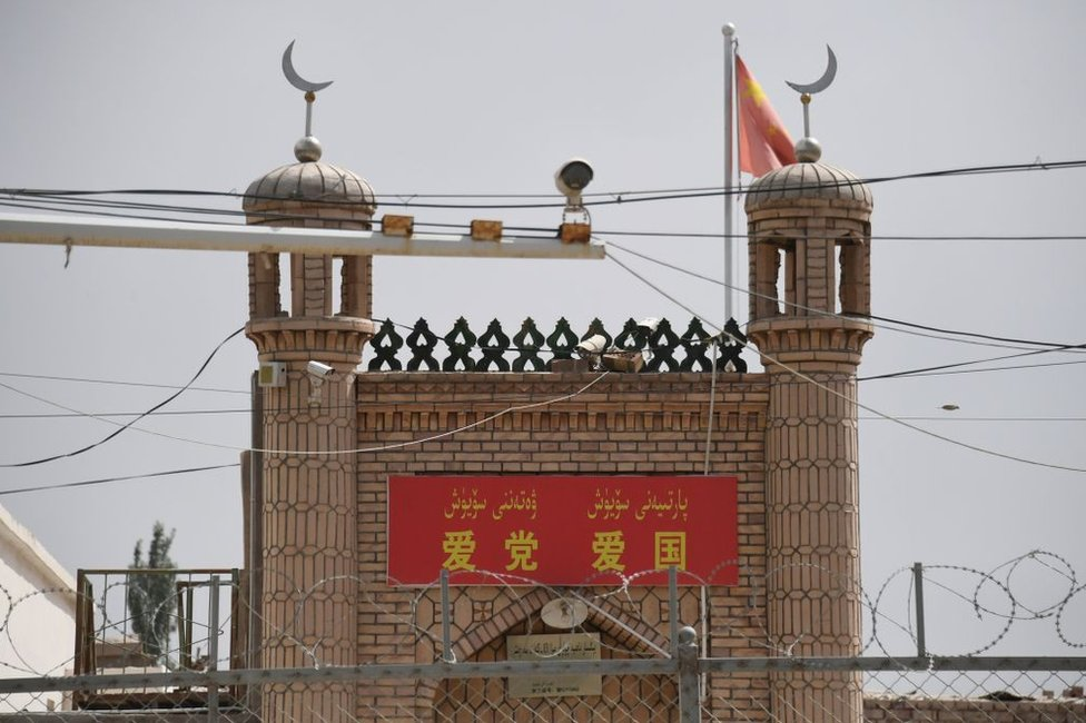 This photo taken on June 4, 2019 shows the Jieleixi No.13 village mosque in Yangisar, south of Kashgar, in China's western Xinjiang region