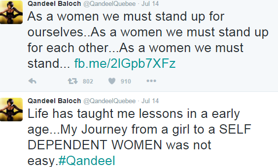 Tweets from Qandeel Baloch