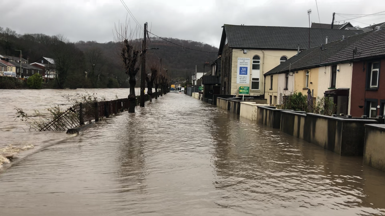 Sion street during the flooding when you can't see where the river bank ends and the road begins