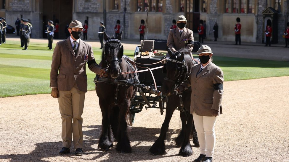 Fell ponies Balmoral Nevis and Notlaw Storm and the Duke of Edinburgh's driving carriage and grooms