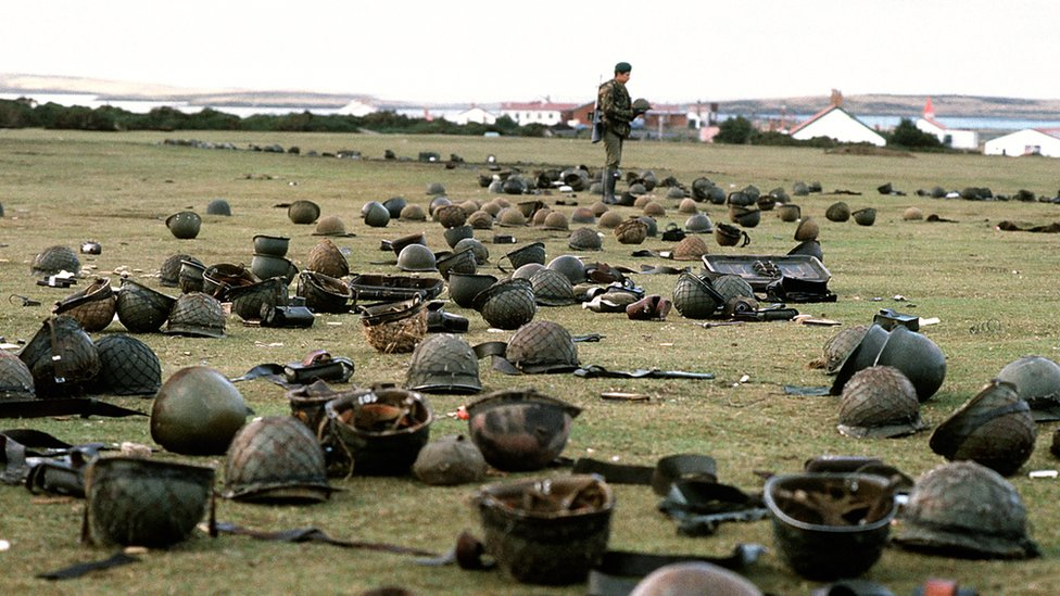 Steel helmets abandoned by Argentine armed forces who surrendered at Goose Green to British Falklands Task Force troops.