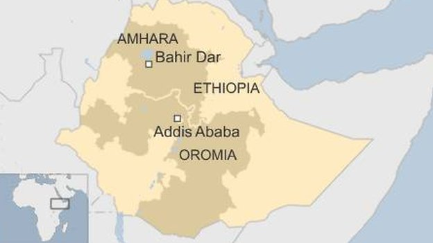 Map showing Ethiopia and Oromia and Amhara