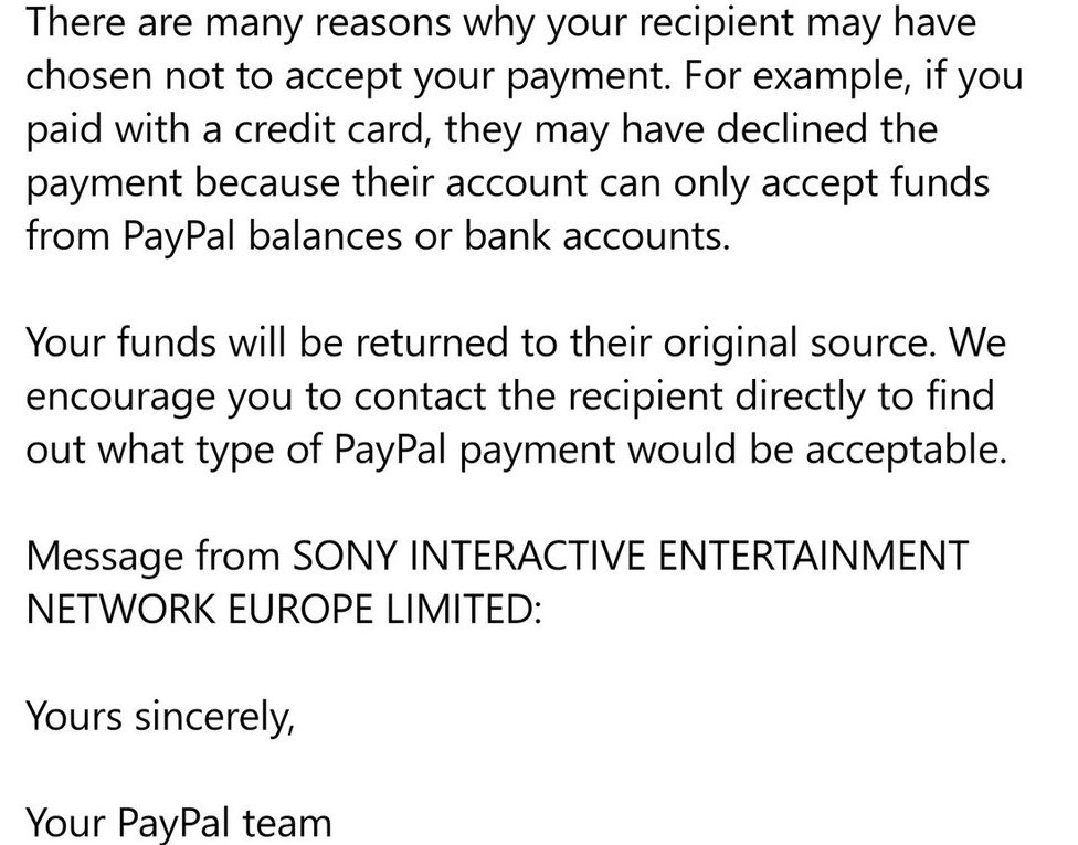 The message from PayPal