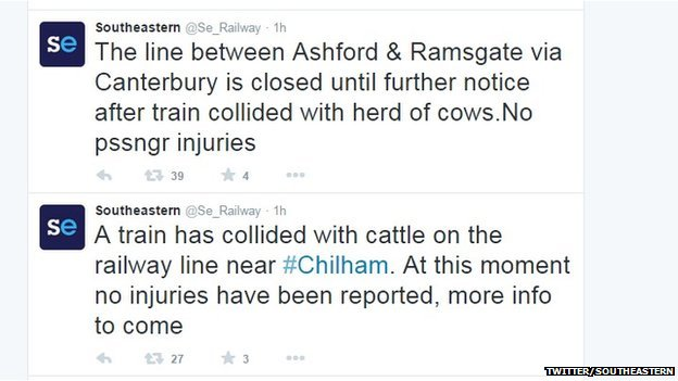 Tweets from Southeastern about the train hitting cows