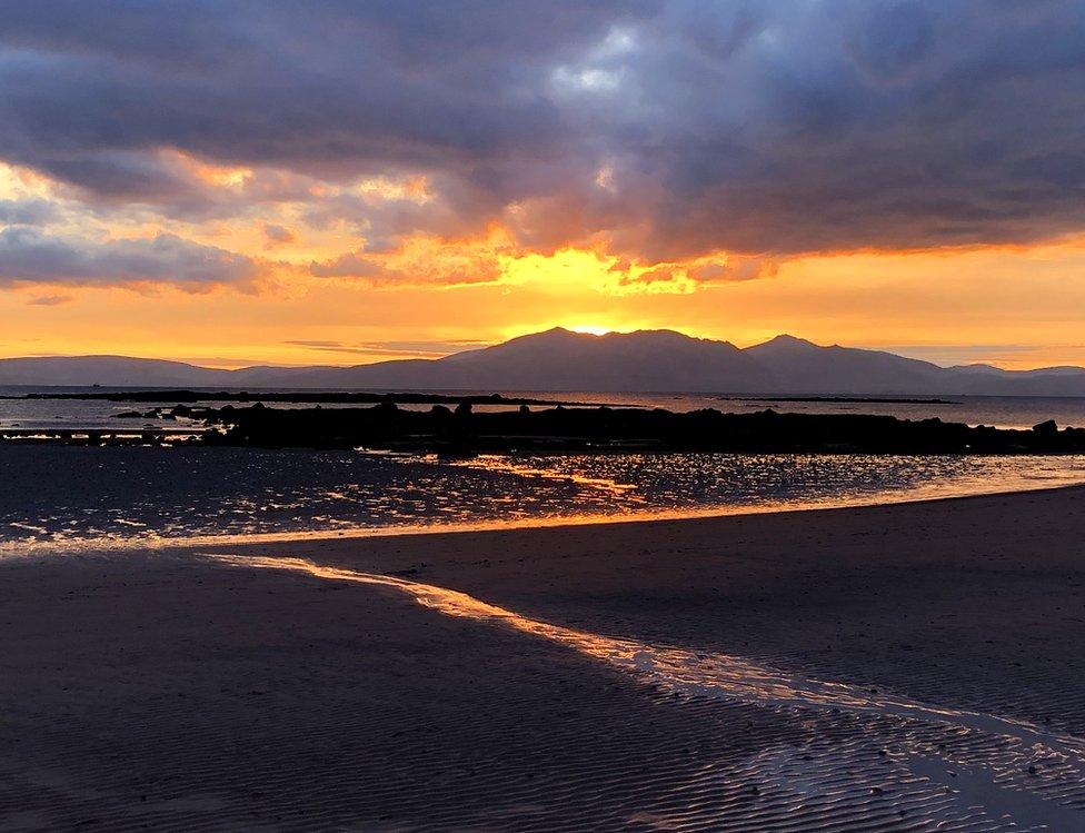 Sunset over Arran from Seamill beach