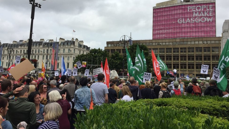 Arrest after fireworks launched near SDL rally in Glasgow