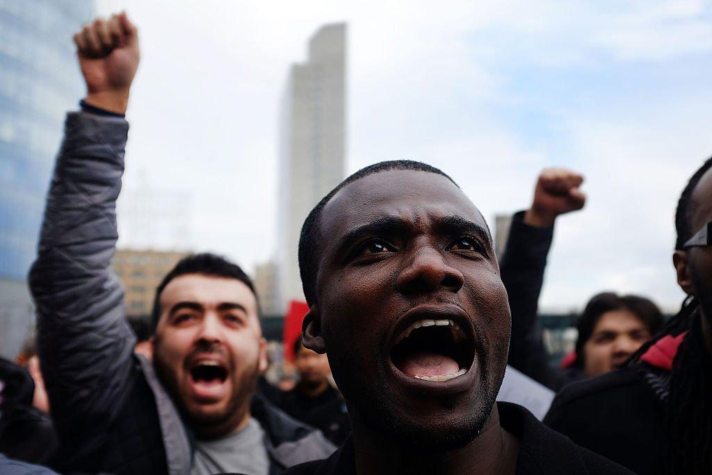 Conductores de Uber en Nueva York en una protesta