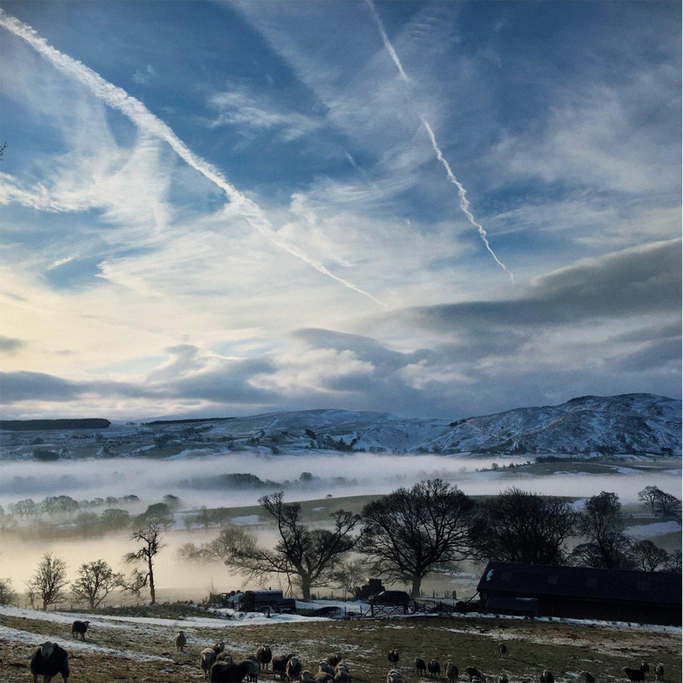 A wintery scene in the Lake District fells
