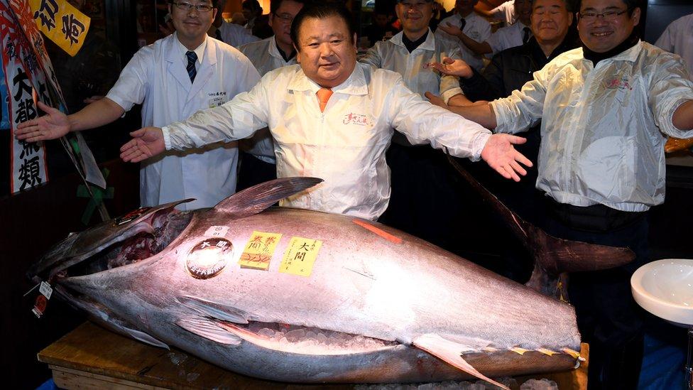 Kiyoshi Kimura, the president of sushi restaurant chain Sushi-Zanmai, poses with a 212-kilogram bluefin tuna at his main restaurant near the Tsukiji fish market in 2017