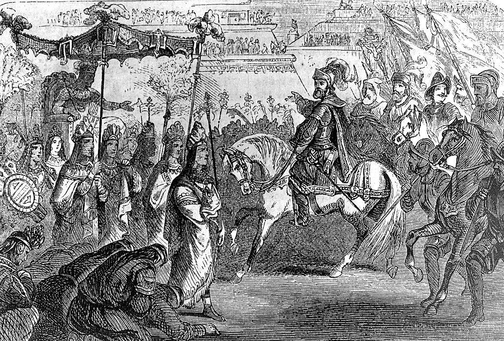 Una ilustración del encuentro entre Hernán Cortes y Moctezuma