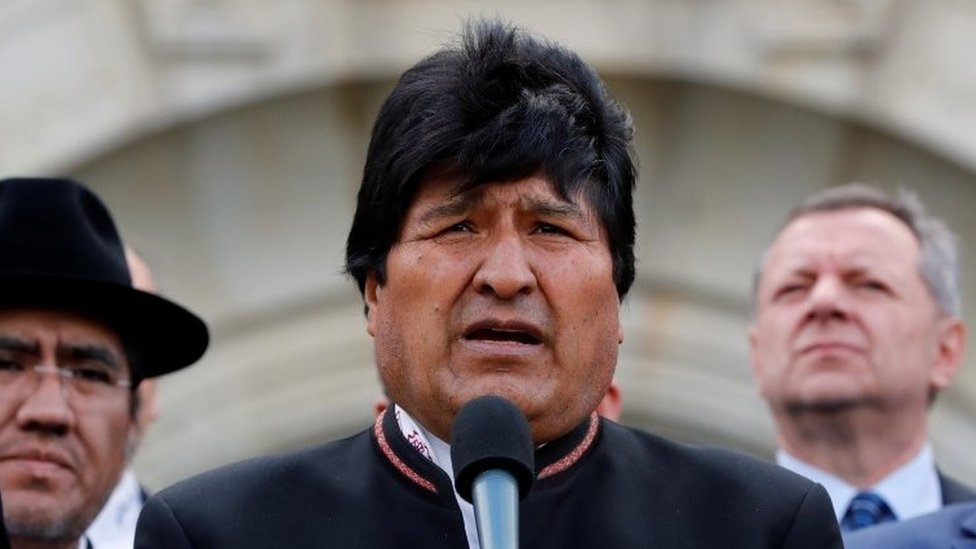Bolivian President Evo Morales speaks outside the International Court of Justice