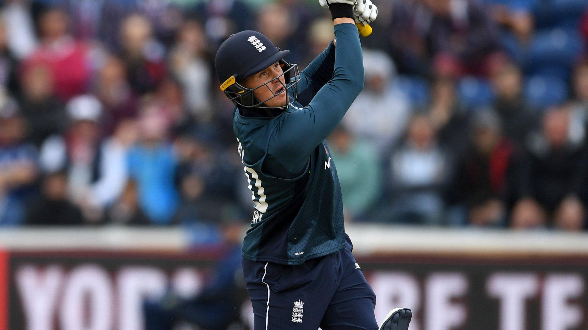 England v Australia: Jason Roy 'wallops' a maximum off Marcus Stonis