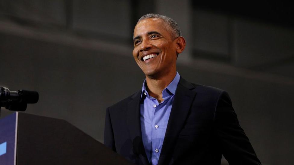 Close up of Barak Obama, speaking at a public event