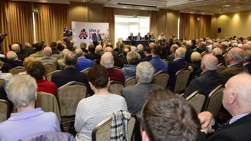 Party members gather in County Antrim on Saturday morning