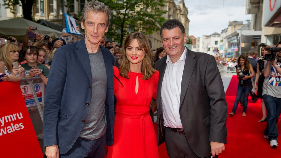 (From left) Peter Capaldi, Jenna Coleman and Steven Moffat