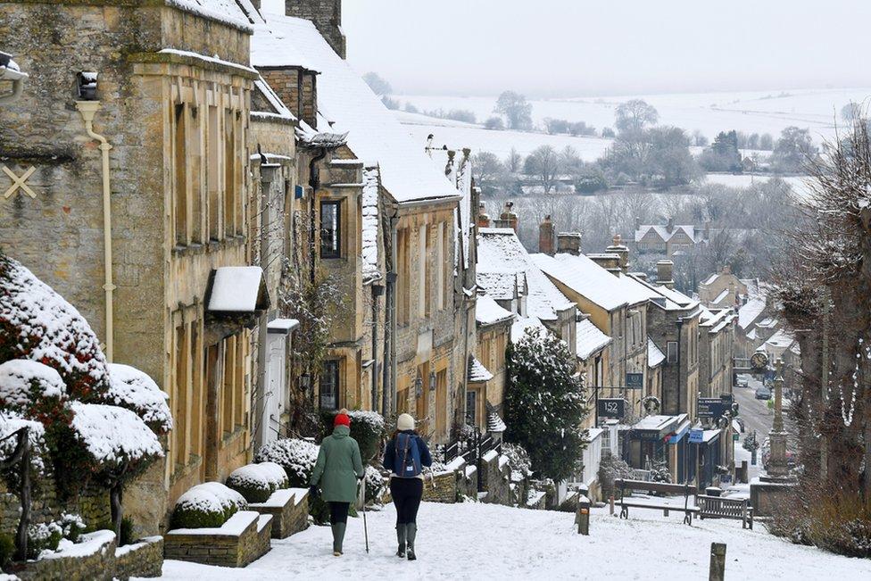 تساقط الثلوج في بورفورد، أوكسفوردشر