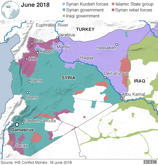 Map showing control of Syria (18 June 2018)