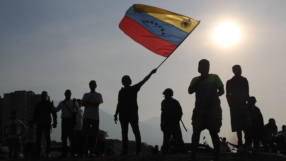 Supporters of the President of the Venezuelan Parliament, Juan Guaido