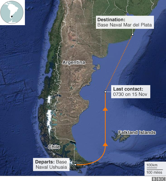 Map of the area where the submarine disappeared